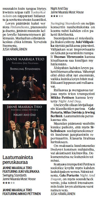 Pianisti Janne Maarala Karjalainen levyarviot Night And Day ja Swinging Standards