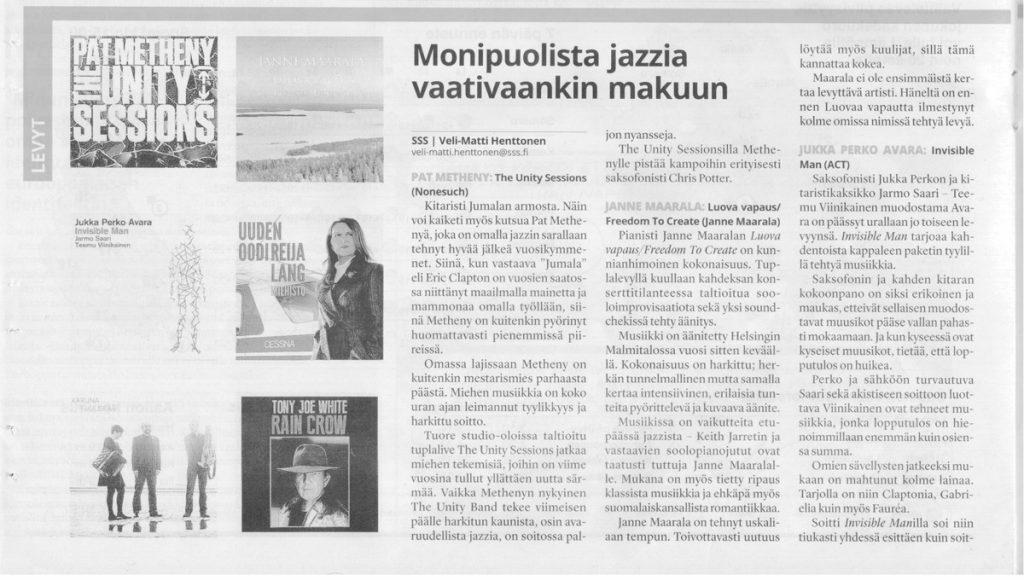 Pianisti Janne Maarala Luova Vapaus Arvio Salon Seudun Sanomat Veli-Matti Henttonen
