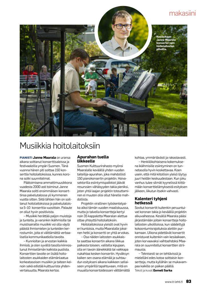 Pianisti Janne Maarala musiikkia hoitolaitoksiin IT Invalidiliitto lehdessä